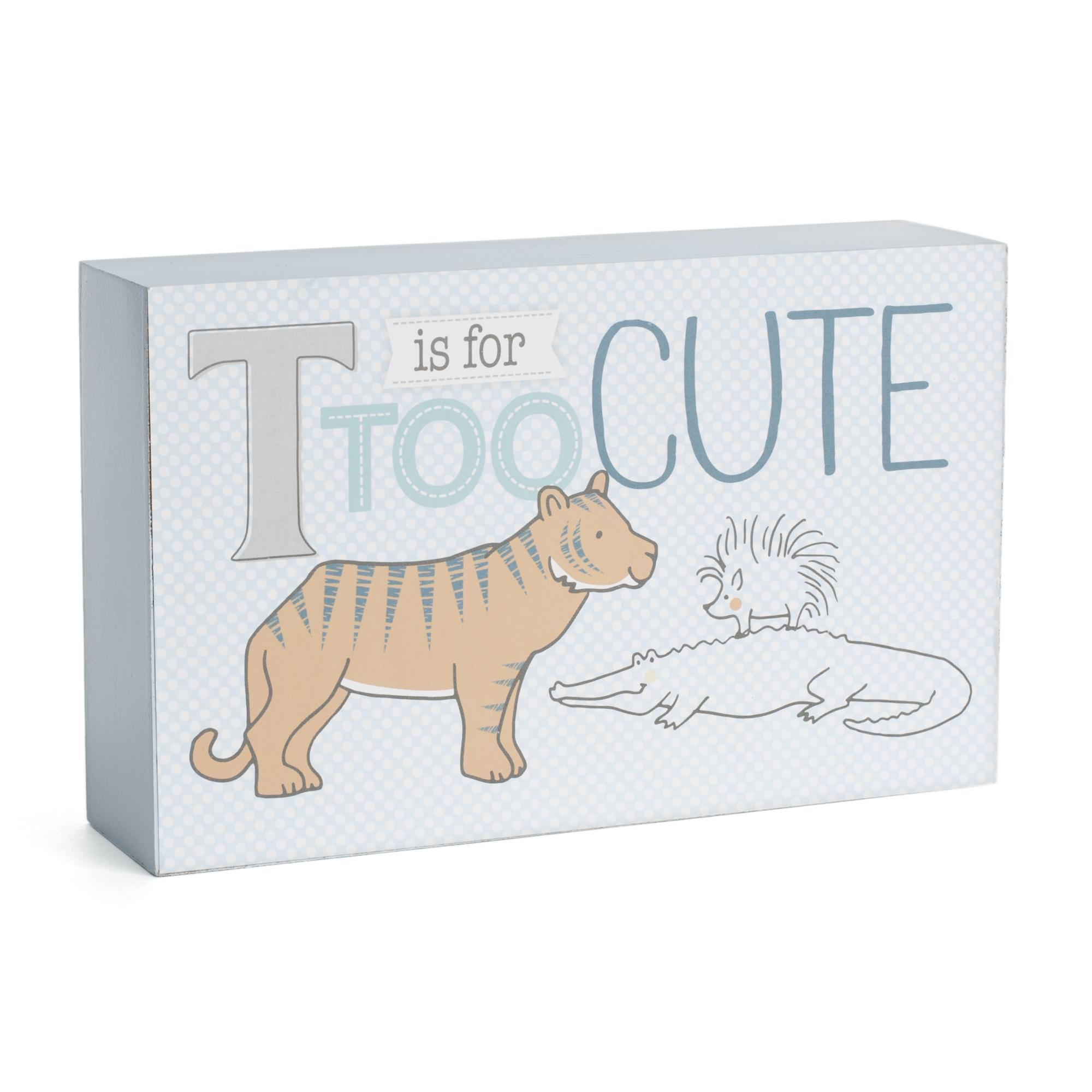 """Tricoastal Design- Decorative Desk Block With Letter: """"T Is For Too Cute""""."""
