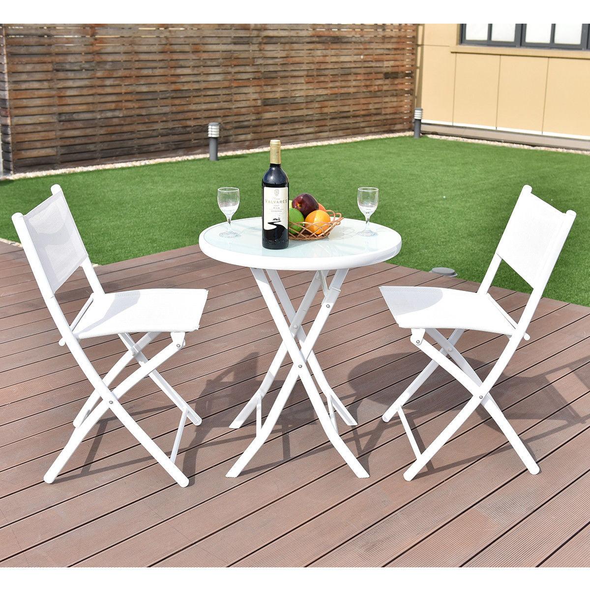 costway 3 pcs folding bistro table chairs set garden backyard patio furniture white walmart com