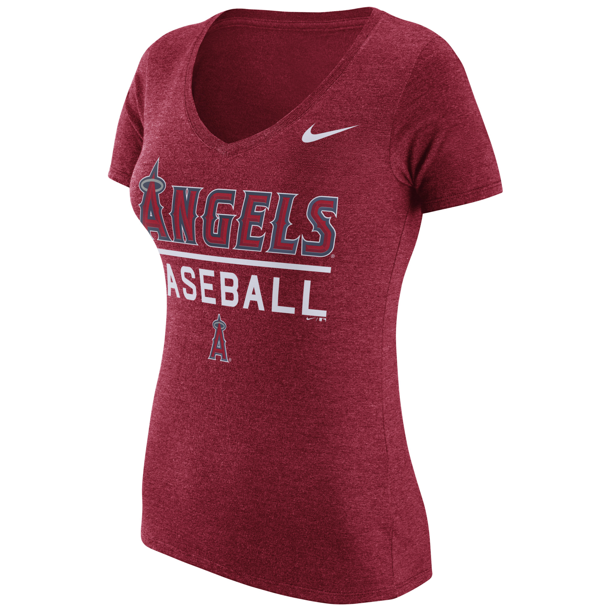 Women's Nike Heathered Red Los Angeles Angels Practice 1.7 Tri-Blend V-Neck T-Shirt