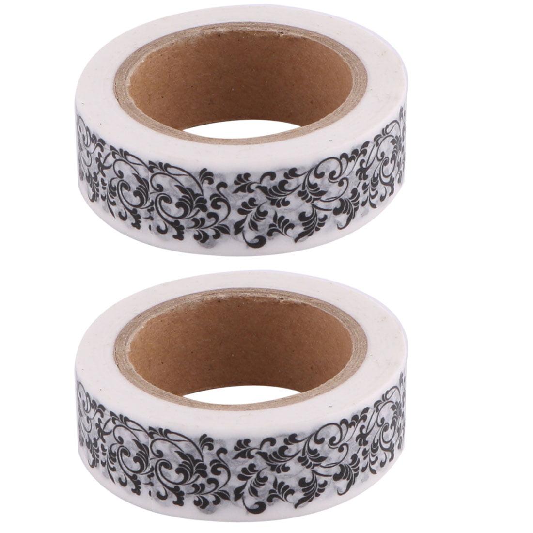 Household Festival Washi Paper Flower Vine Pattern Decor Tape 15mm x 10M 2 Pcs