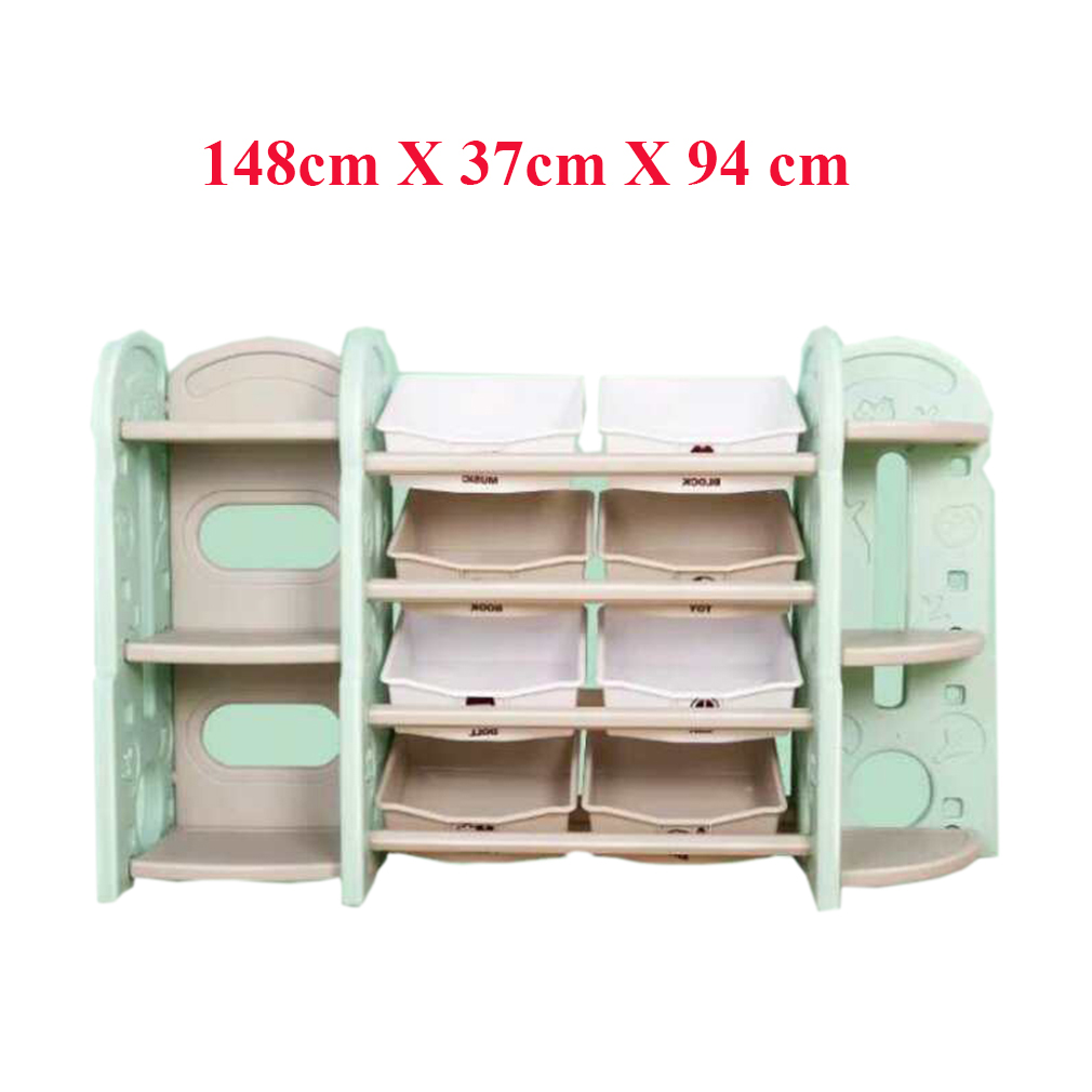 Toy Storage Organizer For Kids Collection Deluxe Plastic Bookshelf With 8 Bins Blue