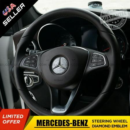 Mercedes-Benz Car Interior Steering Wheel 3D Diamond Decal Sticker Badge Decoration Logo