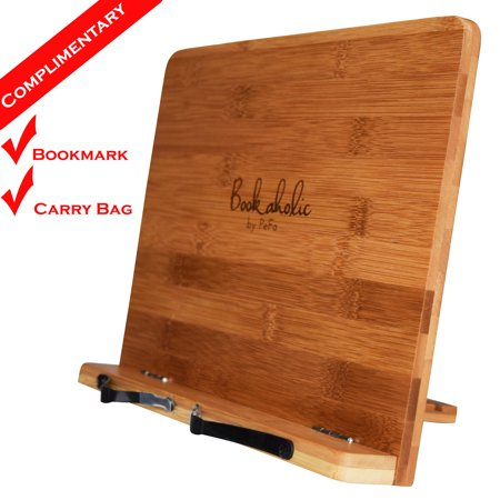 Bookaholic Bamboo Book Stand Cookbook Holder Book Rest Reading Stands Tablet Holders: The Tool to Enjoy Reading in a Healthy Posture (Cookbook Holder Stand)
