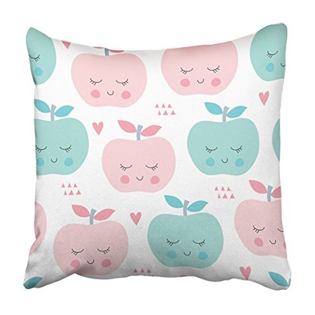 ARHOME Colorful Face Happy Apples Pattern Fruit Abstract Autumn Beautiful Color Cute Pillowcase Cushion Cover 20x20 inch](Happy Halloween Apples)