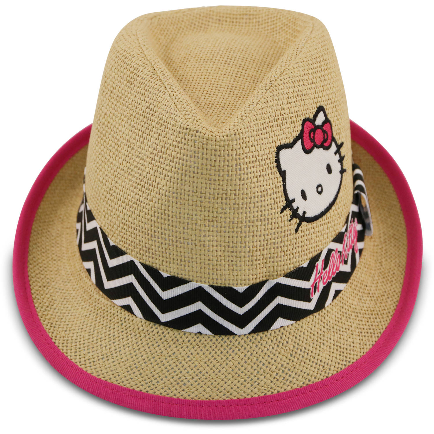 Sanrio Hello Kitty natural straw fedora with black and white chevron band.