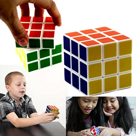 3 X 3 Classic Puzzle Cube Toy - Standard 6 Color Brain Teaser Puzzle - 2 1/4 Inches - By Dazzling Toys