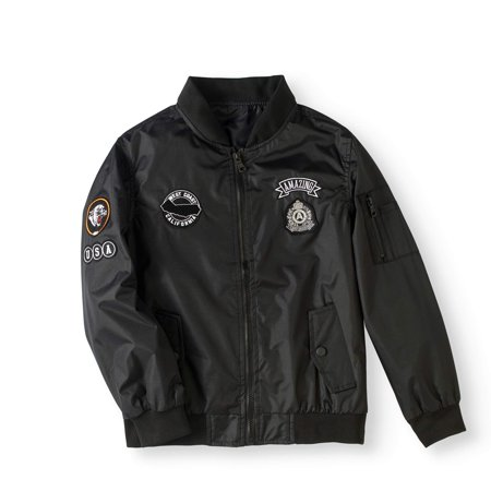 Bocini Boys' Bomber Jacket With Patches - Boy Leather Jacket