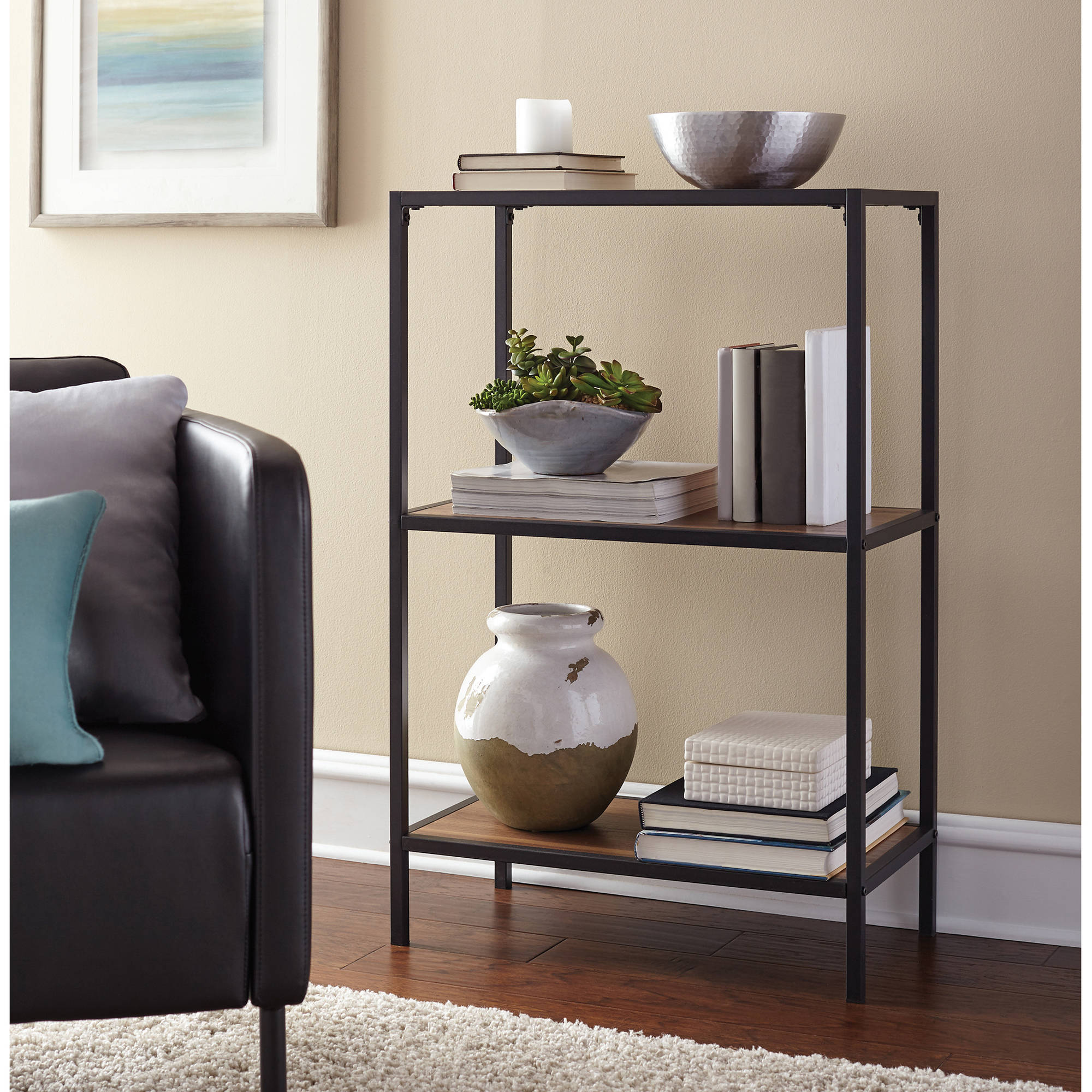 Mainstays Metro 3 Shelf Bookcase Warm Ash Finish Walmart