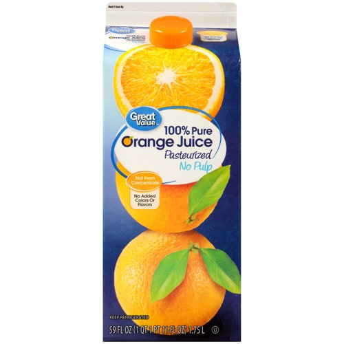 Great Value 100% Pure Pulp Free Orange Juice, 59 oz