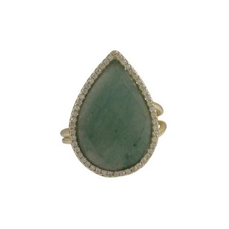 Green Jade Semi Precious 13 x 20 Faceted Teardrop Stone & 5 x 9 Gold Plated Sterling Silver Cubic Zirconia Adjustable Ring