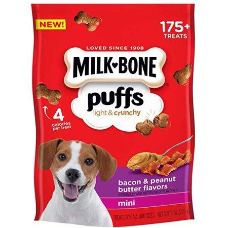 Milk-Bone Puffs Crunchy Dog Treats, Bacon & Peanut Butter, Mini Size, 8 Oz.](Mini Dogs)
