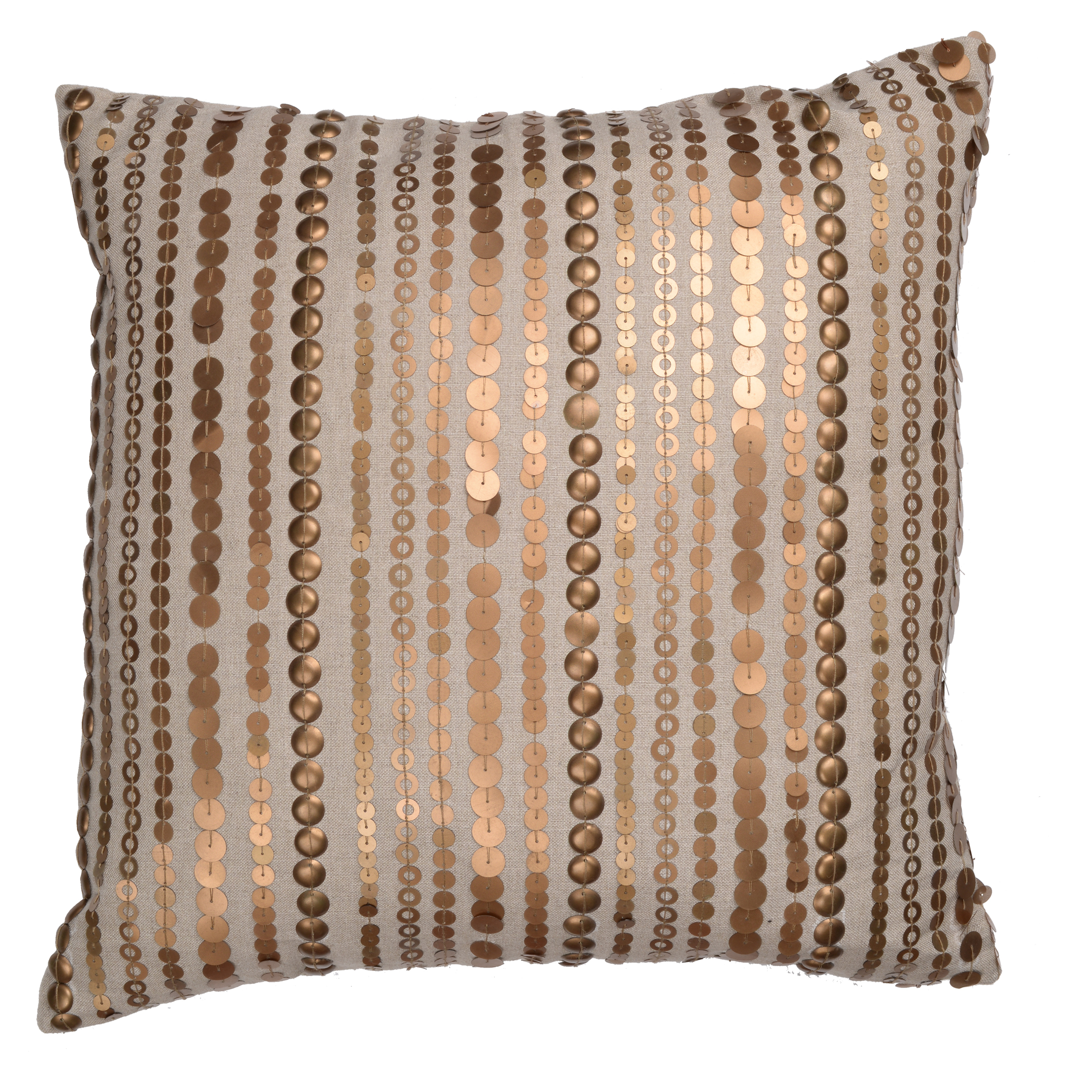 A&B Home Dashiell Copper Beaded Throw Pillow, Linen, 18 by 18-Inch by A&B Home