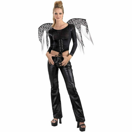 Black Wings Lace Corset Adult Halloween Accessory