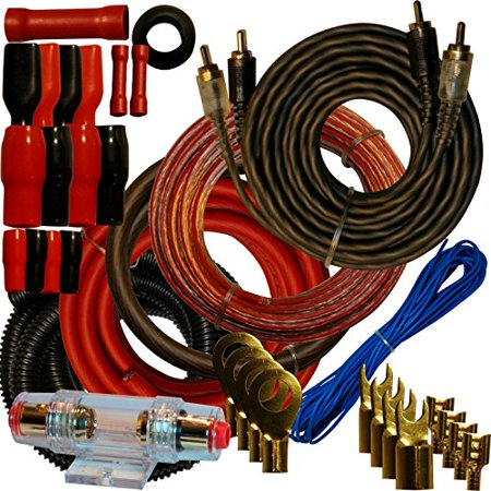 Amp Cable - 4 Gauge Amplfier Power Kit for Amp Install Wiring Complete RCA Cable RED 2800W