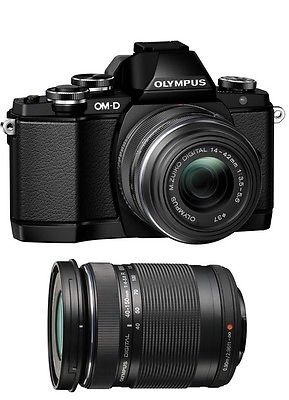 Olympus OM-D E-M10 Mark II Camera with 14-42mm EZ & ED 40-150mm Lenses (Black) by Olympus