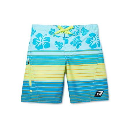 Laguna Boys 8-20 Tropical Stripe Zippered Pocket Swim Trunk Shorts with UPF 50