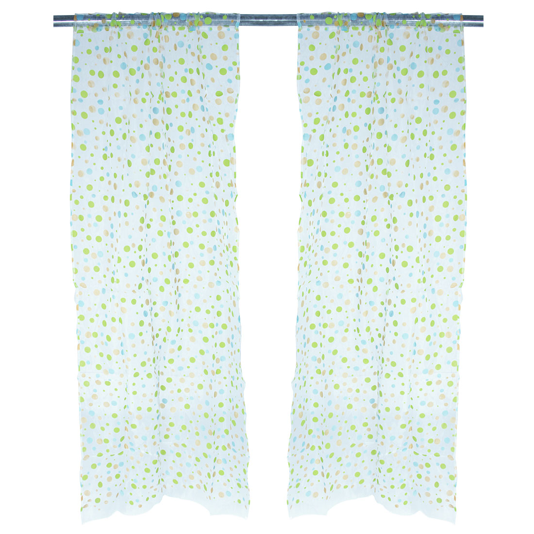 Household Polyester Dots Pattern Panel Window Sheer Curtain Green 100 x 200cm