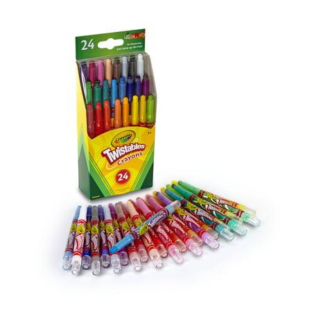Crayola Twistables Non-Toxic Crayon Set, 4-1/2 in, Assorted Mini Color, Set of 24 - Non Toxic Crayons