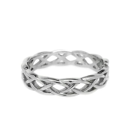 Ladies Celtic Band (Womens Stainless Steel Celtic Braid Ring Eternity Knot Wedding Band (4))