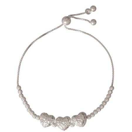 Sterling Silver Diamond Cut Heart Adjustable Bracelet 8.5