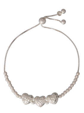 """Sterling Silver Diamond Cut Heart Adjustable Bracelet 8.5"""""""