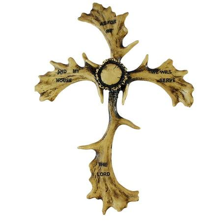 Pine Ridge Faux Elk Antler Joshua Religious Christian Cross With Bible Inscription Joshua 24:15 - Decorative Faith Cross - Home Decor Colorful Catholic Confirmation -