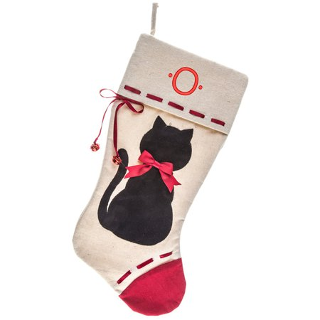 Monogrammed Christmas Stocking, Black Cat Applique on Linen with Bells with Red Kids Embroidered Initial