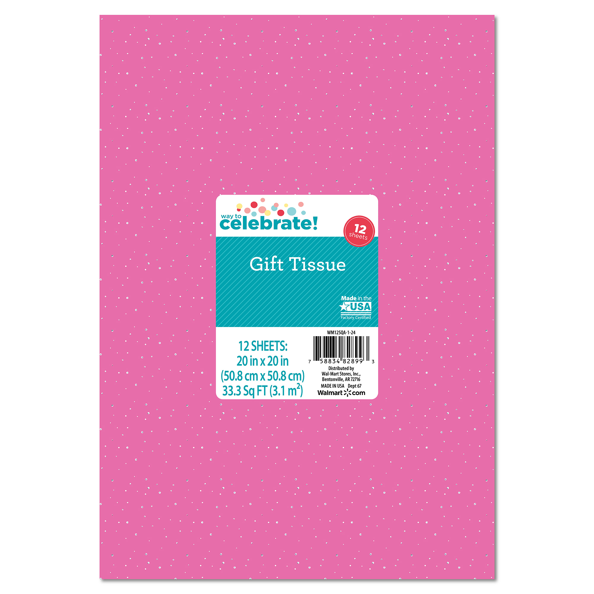 Bright Pink with Silver Sequin Tissue Paper, 12 pk