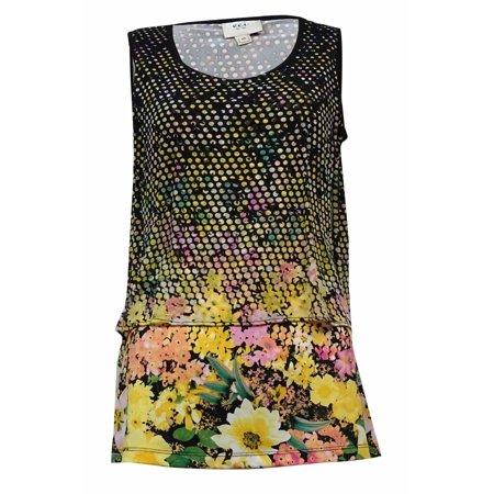 Luxury Cowl Neck Top - ECI Women's Scoop Neck Mesh Overlay Jersey Top (XS, Baby Yellow/Pink)