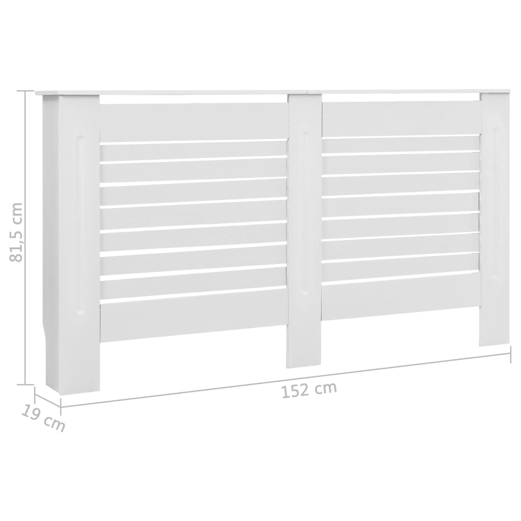152x19x82cm Radiator Cover Large Modern Mdf White Wood Cabinet Home Decor