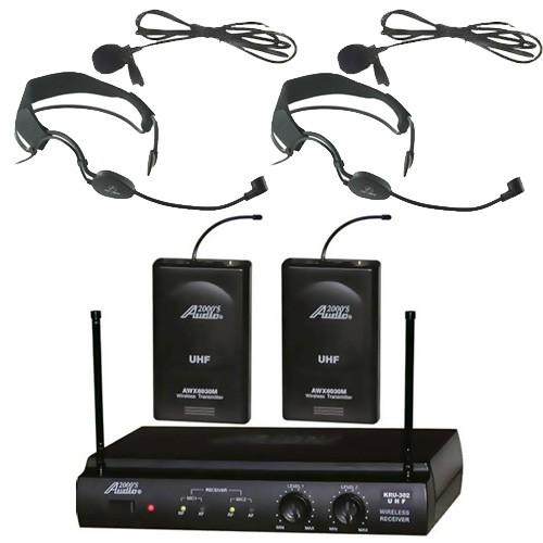 Audio2000 6032UF UHF Dual Wireless Microphone 2 Headband Headset & 2 Lapel Mics by Audio 2000