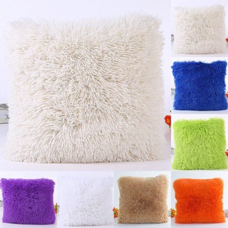 Plush Furry Cushion Cover Throw Pillow Case Home Bed Room Sofa Decor Without Pillow Inner - image 1 de 1