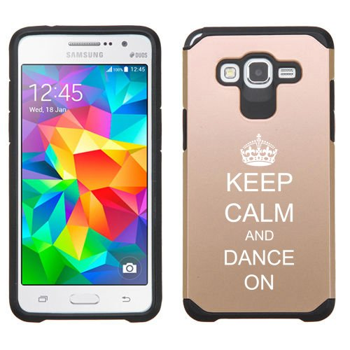 For Samsung Galaxy Grand Prime Shockproof Impact Hard Soft Case Cover Keep Calm And Dance On With Crown (Gold)