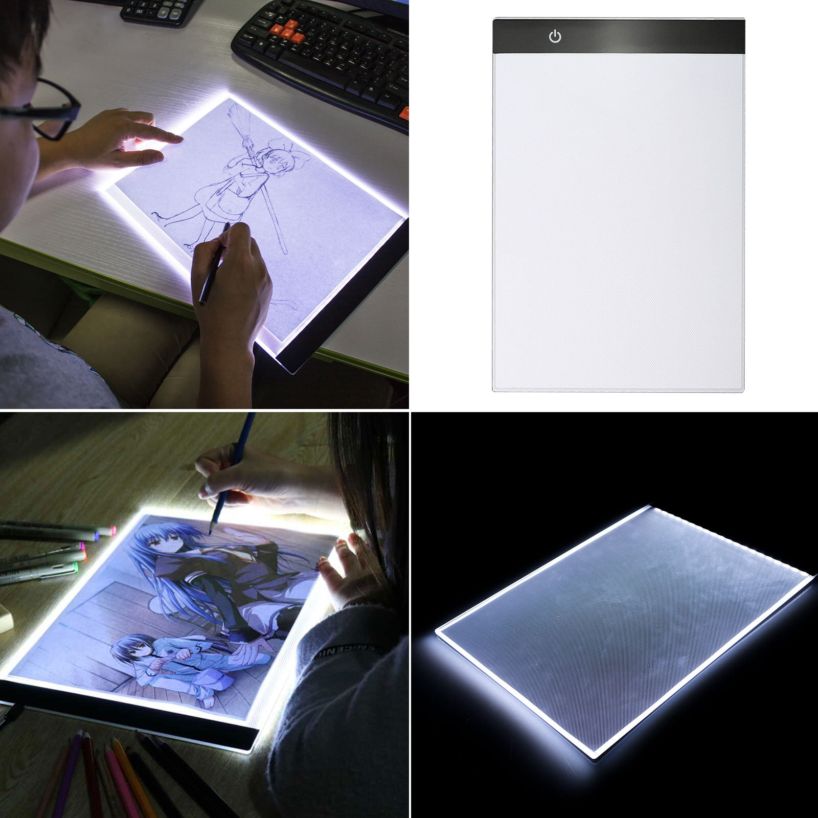 A4 Led Tracing Light Box Slim Portable Led Light Pad Tracer Tsv Usb Powered Drawing Copy Board Tattoo Tracing Led Light Table For Artists Drawing Animation Sketching Stenciling X Ray Viewing Walmart Com