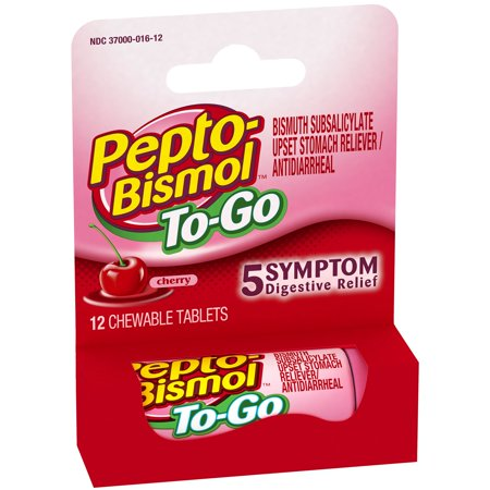 Pepto-Bismol To-Go Cherry Flavor Digestive Relief Chewable Tablets 12 ct Box