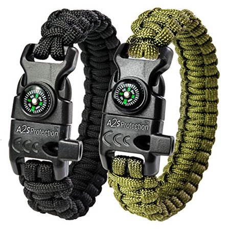 Paracord Bracelet K2-Peak Series - Survival Gear Kit w/ Compass by A2S Survival - Paracord Compass
