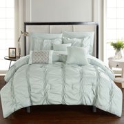 Chic Home 10-Piece Luna Pinch Pleated, ruffled and pleated complete Queen Bed In a Bag Comforter Set Turquoise Sheets set and Decorative pillows included