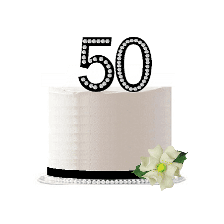 50th Birthday / Anniversary Rhinestone Bling Sparkle Cake Decoration Topper -Black