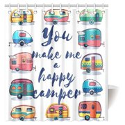 BPBOP Camper Shower Curtain, You Make Me Happy Camper Motivational Quote with Caravans Retro Style Travel Graphic Bathroom Shower Curtain with Hooks, 66x72 Inches
