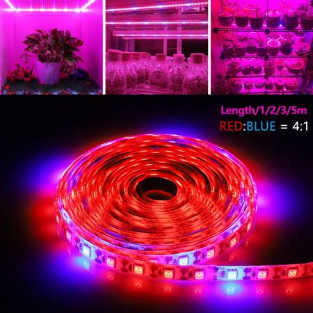 Waterproof LED Plant Grow Strip Light, EEEKit SMD 5050 Red Blue 4:1 Indoor Growing Lamp, Flexible Soft Rope Light for Aquarium Greenhouse Hydroponic Plant Garden Flowers Veg Grow Light (5/3/2/1M) Sunmaster Grow Lamps