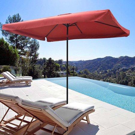 Yescom Metal Patio Umbrella 6 Ribs Market Table Umbrella Tilt w/ Crank Outdoor Rectangular Sunshade Cover Color