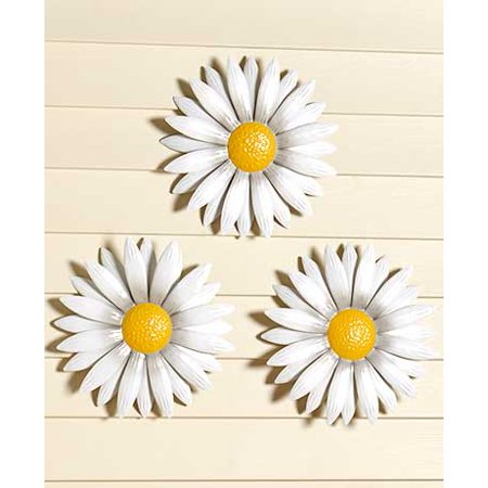 "MattsGlobal Cheery Rustic 12"" Diameter Metal Wall Decor Daisies (Set of 3)"