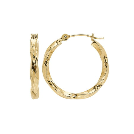 Brilliance Fine Jewelry 10K Yellow Gold Polished and Diamond-Cut Round Hoop Earrings