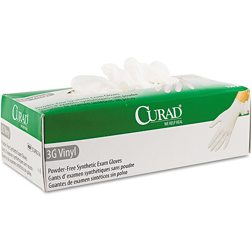 Curad 3G Synthetic Vinyl Powder-Free Synthetic Exam Gloves, 100 count by Medline Industries