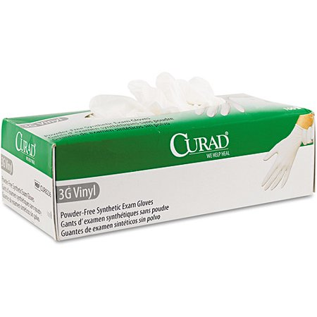 Curad 3G Synthetic Vinyl Powder Free Synthetic Exam Gloves  100 Count