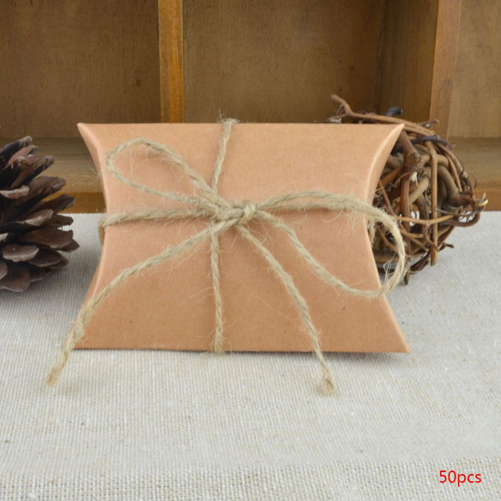 Holiday Clearance 50pcs Pillow Shape Wedding Favor Gift Box Party Candy Box Festive Party Supplies
