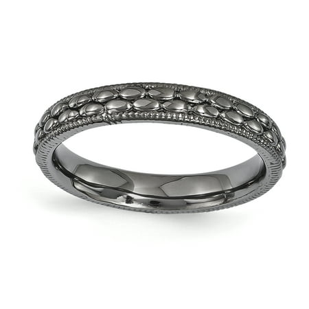 Sterling Silver Stackable Expressions Ruthenium-plated Patterned Ring Size 5 - image 1 of 3