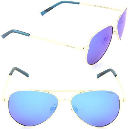 Polaroid PLD 8015/N J5G-JY Aviator Sunglasses Gold/Grey Blue Mirror Polarized (Polaroid Sunglasses Aviator)