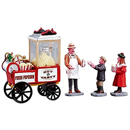 Lemax 02832 POPCORN SELLER Figurine Set of 4 Christmas Village Figures ()