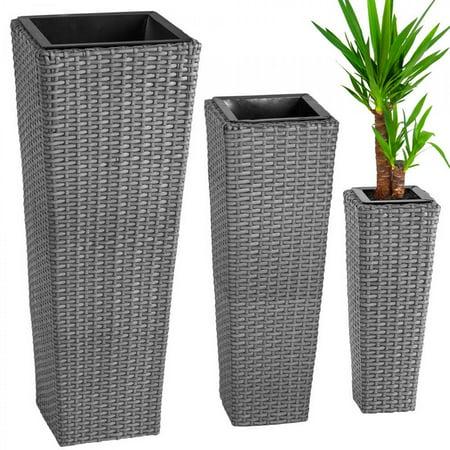 3X Rattan Garden Tube Planter Vase Flower Pots Patio Furniture Garden - Gray Rattan Furniture Center